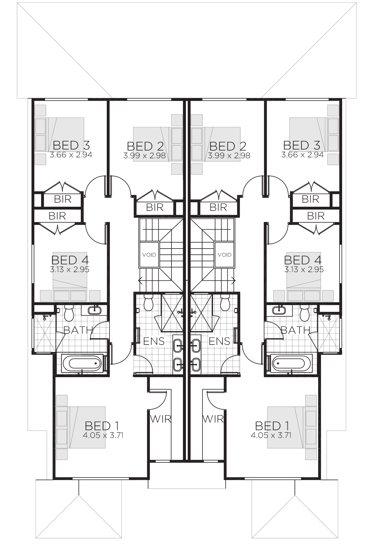 2 Storey Duplex House Plans